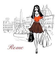 Woman in rome vector