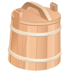 Closed wooden tub wooden bucket with lid vector