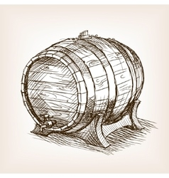 Wine barrel sketch style vector