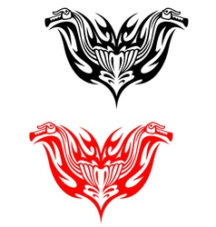 Biker tattoos with fire tribal flames vector image