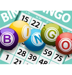 Bingo balls on a card background vector