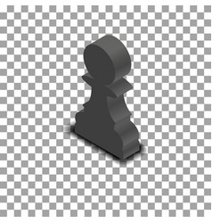 black chess piece pawn isometric vector image vector image