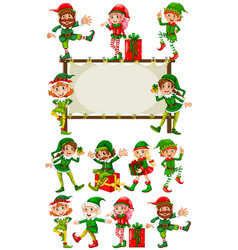 Border template with christmas elves vector