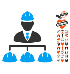 builder management icon with love bonus vector image vector image