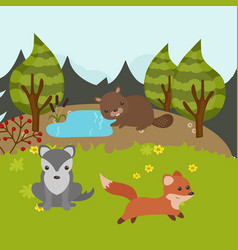 Cartoon forest landscape cartoon forest landscape vector