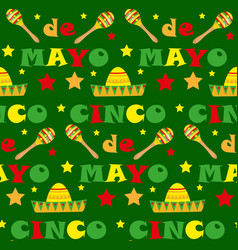 cinco de mayo seamless pattern mexican holiday vector image