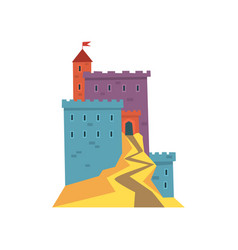 colorful ancient fortress red heraldic flag on vector image