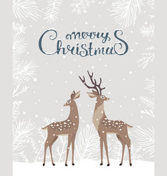 deer christmas card vector image
