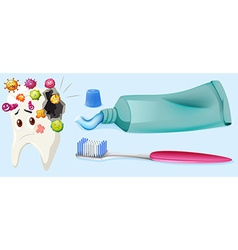 Dental theme with tooth decay and equipment vector