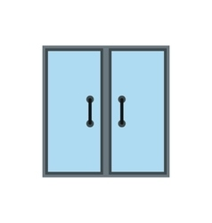 Double glass door icon flat style vector