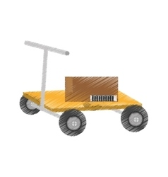 Drawing hand pallet lift boxes delivery vector