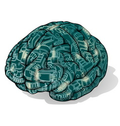 Electronics brain vector