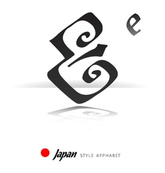 English alphabet in Japanese style - E - vector image vector image