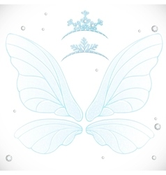 Fairy white wings with tiaras bundled vector