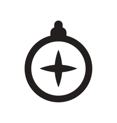Flat icon in black and white style tourist compass vector