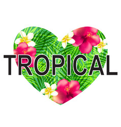 Floral tropical heart vector