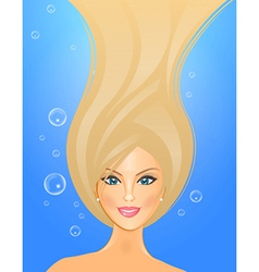 girl underwater vector image