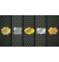 Golden vintage frame on black pattern background vector