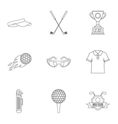 golf things icons set outline style vector image
