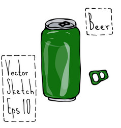 green beer can and key doodle sketch bar vector image vector image
