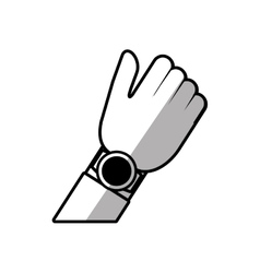 Hand with smart watch wearable technology shadow vector