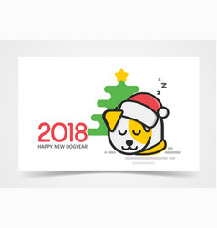 happy little puppy with santa s hat on his had vector image vector image