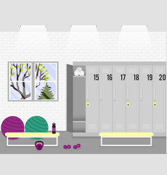 Illstration with locker room in the fitness vector