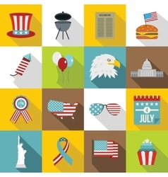 Independence day flag icons set flat style vector