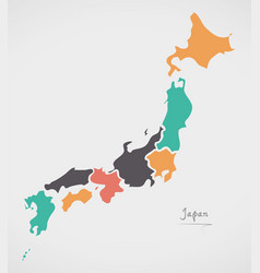japan map with states and modern round shapes vector image vector image