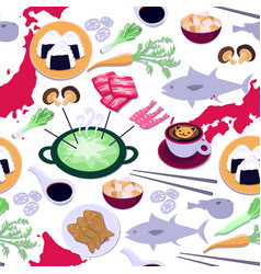 japanese cuisine seamless pattern vector image vector image