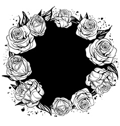 Leaves and flowers of roses vector
