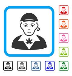Marihuana dealer framed smiling icon vector