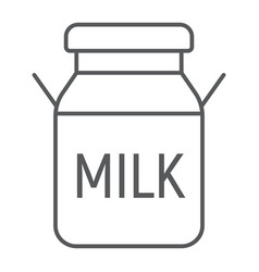 Milk can thin line icon farming and agriculture vector