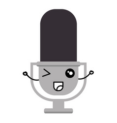 Retro microphone kawaii character vector