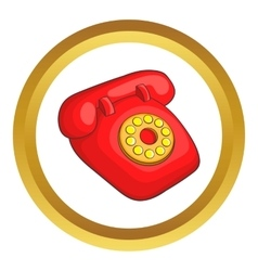 Retro red telephone icon vector