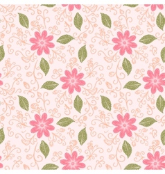 Seamless flower plant pattern background vector image