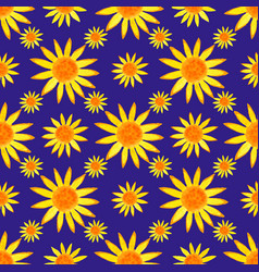 Seamless watercolour sunflowers pattern on blue vector