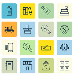 Set of 16 ecommerce icons includes shop business vector