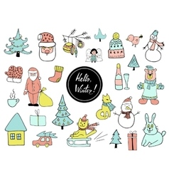 Set of Christmas and New Year doodle holiday vector image