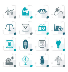 stylized electricity power and energy icons vector image