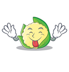 tongue out cauliflower character cartoon style vector image vector image
