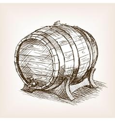 Wine barrel sketch style vector