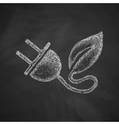 Eco plug leaf icon vector