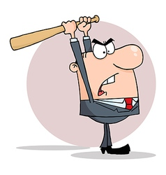 Angry businessman with bat vector