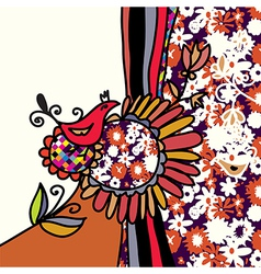 Bird and flowers background vector image