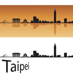 Taipei skyline in orange background vector image