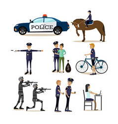 Flat icons set of policeman profession vector