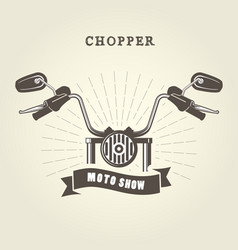 Chopper moto handlebar with rear-view mirrors vector
