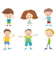 Happy cartoon children set vector