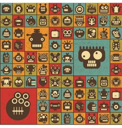 Robot and monsters cell seamless background vector image